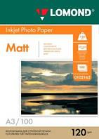 Фотобумага Lomond матовая 120г/м, А3 100арк. Код 0102162