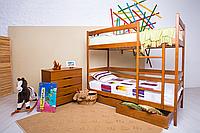 Кровать двухъярусная из натурального дерева «Амели»