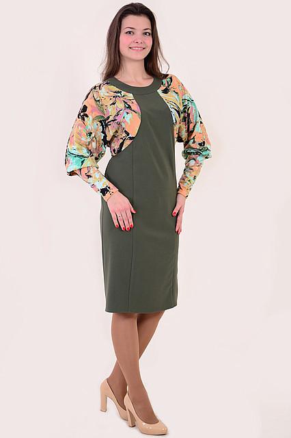 Платье женское комбинированное  «Летучая мышь», пл 124-1, батал, 50,52,54,56,58., платье на большую грудь.