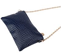 Сумка женская кожзам синего цвета, клатч, сумочка-клатч с плечевым ремнем 11*21см