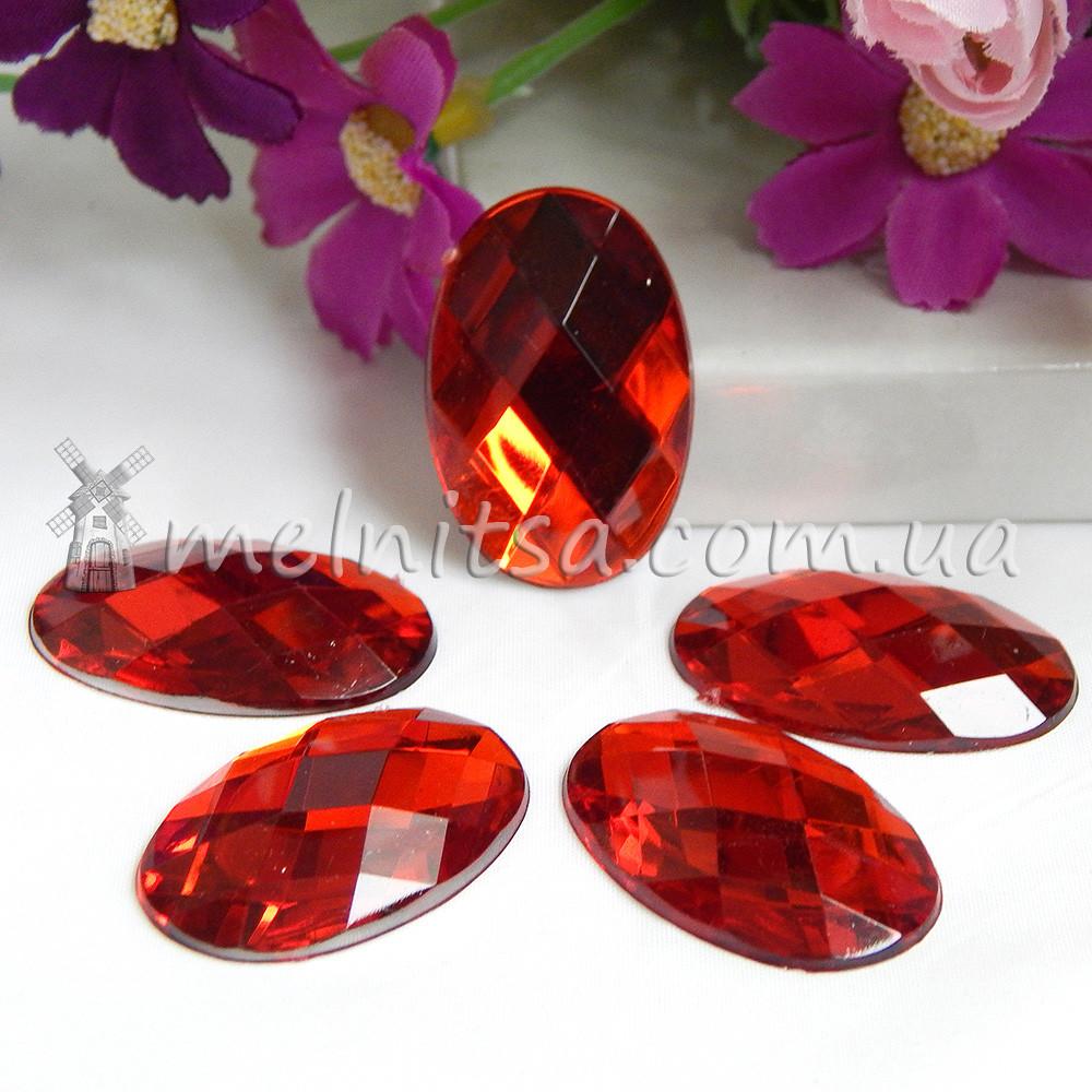Камень клеевой овальный, 3х2 см, красный