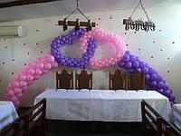 Оформление свадьбы сердцами из шаров
