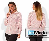 Классическая женская рубашка больших размеров из крепа в тонкую полоску с карманом на груди красная