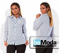 Классическая женская рубашка больших размеров из крепа в тонкую полоску с карманом на груди голубая