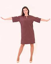 Платье женское свободного кроя, по колено , батал , тянется , не приталенное ,Пл 138.