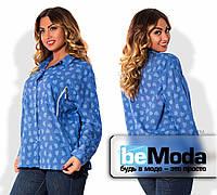 """Необычная женская блуза больших размеров из качественного батиста с принтом """"сердце"""", карманом на груди и блестящей молнией на кармане синяя"""