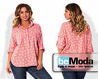"""Необычная женская блуза больших размеров из качественного батиста с принтом """"сердце"""", карманом на груди и блестящей молнией на кармане розовая"""