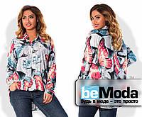 Модная женская блуза больших размеров из разноцветного штапеля с удлиненной спинкой мультиколор