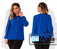 Классическая женская блуза больших размеров с длинными рукавами и блестящими пуговицами цвета электрик