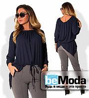 Нарядная женская  блуза больших размеров с ассиметрией по краю низа и поясом кулиской темно-синяя