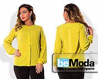 Классическая женская блуза больших размеров с длинными рукавами и блестящими пуговицами желтая