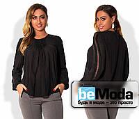 Оригинальная женская блуза свободного кроя с драпировкой на груди для полных дам черная