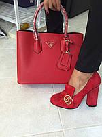 Женская сумка PRADA cuir double bag красная