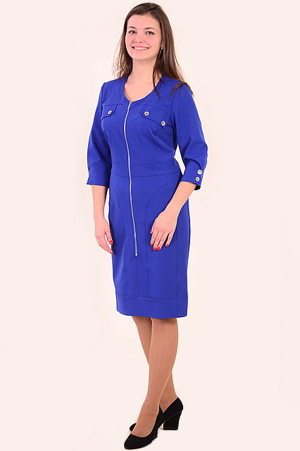 Платье женское спортивного стиля ( ПЛ 142 ), за колено,батал,50-56, одежда для полной молодежи , электрик .