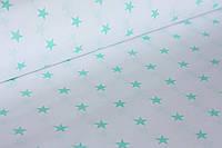 Хлопковая ткань мятные звезды( 22 мм)