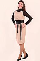 Платье сарафан шерсть кашемир теплое бежевое с атласным поясом, пл 791