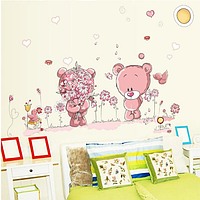 """Наклейка на стену, виниловые наклейки """"Влюбленный розовый мишка дарит цветы"""" (лист50*70см)"""