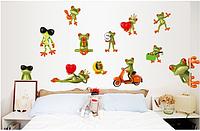 """Наклейка на стену, виниловые наклейки """"модные лягушки"""" (лист50*70см)"""