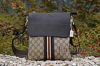Мужская сумка Gucci комбинированная эко кожа ткань