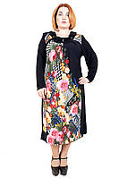 Платье батальное Элина, теплый трикотаж