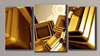 """Модульная картина на холсте из 3-х частей """"Золотая абстракция"""""""