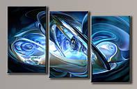 """Модульная картина на холсте из 3-х частей """"Синяя абстракция"""""""
