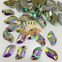 Пришивные стразы(синтетич.стекло) 10х20 Форма S -образный листик Crystal AB(хамелеон) 1шт Оптом и в розн