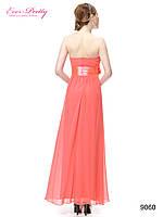 Вечернее платье с бантом , коралловое. М