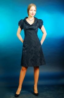 Платье  шелковое грифель жаккард трапеция женское (ПЛ 016)