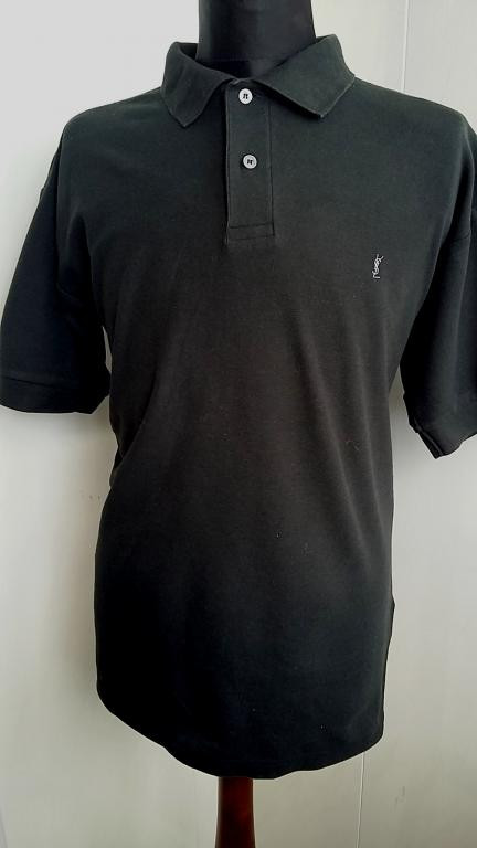 Мужская футболка поло Yves Saint Laurent черная - Интернет-магазин