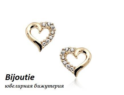Серьги CRYSTAL HEART  ювелирная бижутерия золото 18к декор кристаллы Swarovski