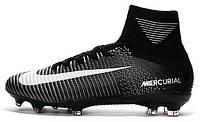 Футбольные бутсы Nike Mercurial Superfly V FG White Black (Найк) с носком черные