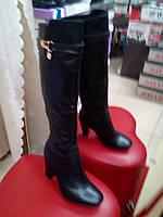 Классические кожаные сапоги демисезонные на каблуке NIVELLE
