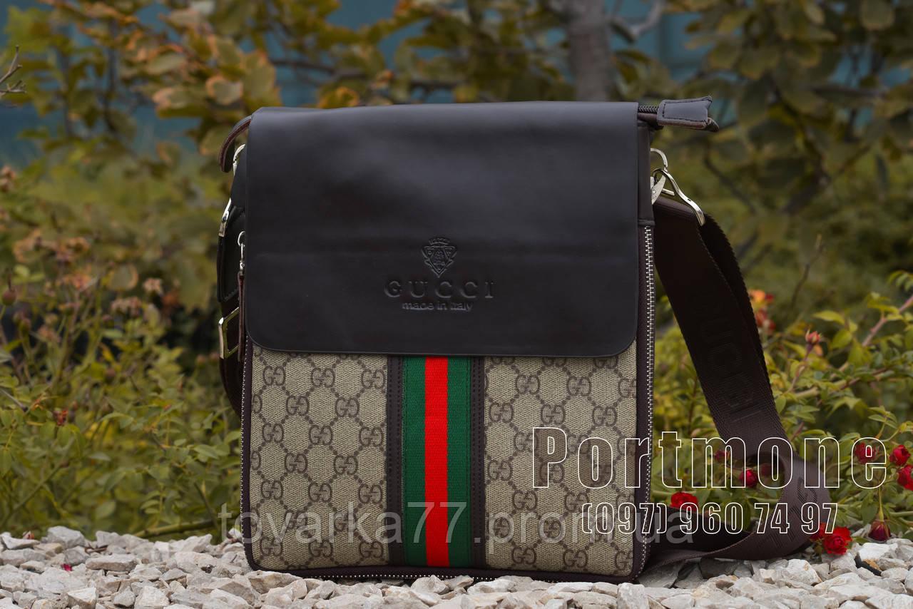 Мужская сумка Gucci комбинированная эко кожа ткань - Интернет-магазин