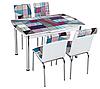 """Комплект кухонний стіл і стільці """"Абстракція"""" МДФ гартоване скло 75*130 (Лотос-М)"""