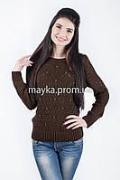 Кофта свитер Джемпер вязаный Ева р.48 цвет коричневый