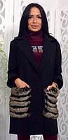 Пальто легкое с карманами из меха р.42-46 черный