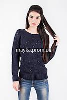 Кофта свитер Джемпер вязаный Ева р.48 цвет Темно-синий