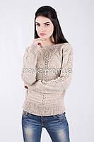 Кофта свитер Джемпер вязаный Паучек р.46 цвет Бежевый