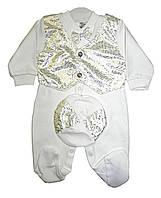 Детский Человечек - фрак блестящий для Новорожденных. Белый. Комбинезон, жилетка, кепка, бабочка. Турция-