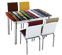 """Комплект кухонный стол и стулья """"Разноцветные доски"""" МДФ каленое стекло 75*130 (Лотос-М)"""