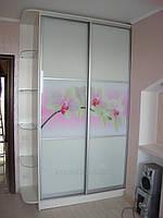 Шкаф-купе с рисунком цветов и крашенным стеклом