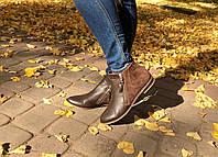 Женские ботинки на низком ходу. Возможен отшив в других цветах кожи и замша, фото 1