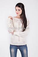 Кофта свитер Джемпер вязаный Паучек р.46 цвет Белый