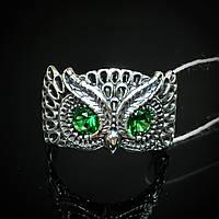 """Серебряное кольцо """"Сова"""" со вставками из фианита"""