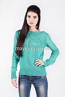 Кофта свитер Джемпер вязаный Паучек р.46 цвет Ментол