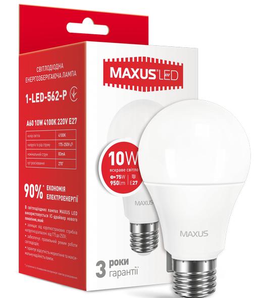 LED лампа Maxus A60 10W Яркий свет  220V Е 27