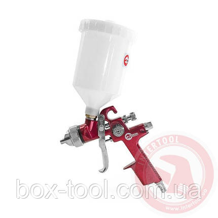 HVLP RED PROF Краскораспылитель 1,4 мм, верхний пластиковый бачок 600 мл INTERTOOL PT-0104, фото 2