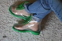 Модные женские сапоги резиновые зеленые