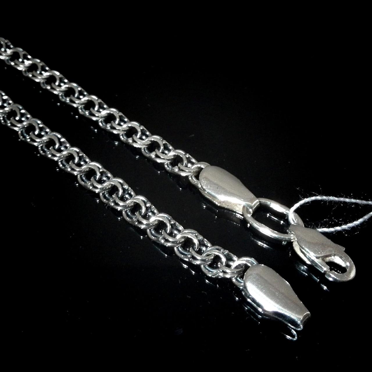 Срібна ланцюжок, 600мм, 20 грам, плетіння Бісмарк, чорніння